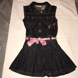 Jean dress with flowers embroidered country Sz 5